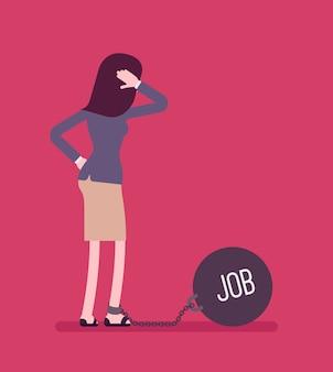 Empresária acorrentada com um trabalho de peso