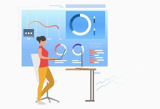 Empresária analisando diagramas de dados corporativos