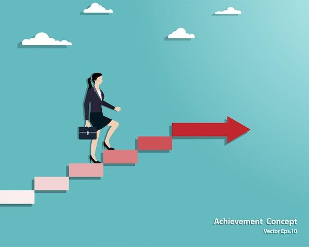 Empresária andando na escada até o sucesso
