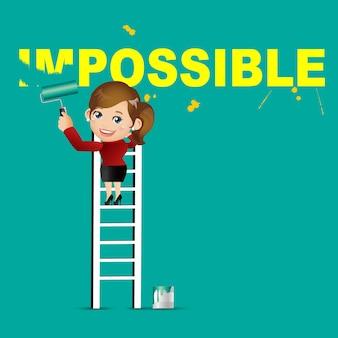 Empresária apagando a palavra impossível