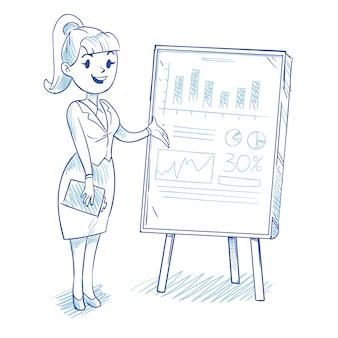 Empresária apresentando gráficos de desenvolvimento de empresa de negócios