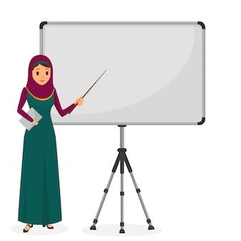Empresária árabe em uma apresentação em pé perto do flipchart. caráter de negócios. ilustração vetorial