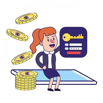 Empresária bancário planejamento financeiro