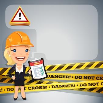 Empresária com fitas de perigo