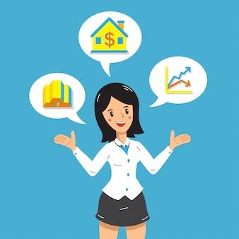 Empresária de desenhos animados com diferentes opções de investimento