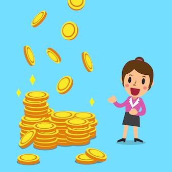Empresária de desenhos animados com moedas de dinheiro