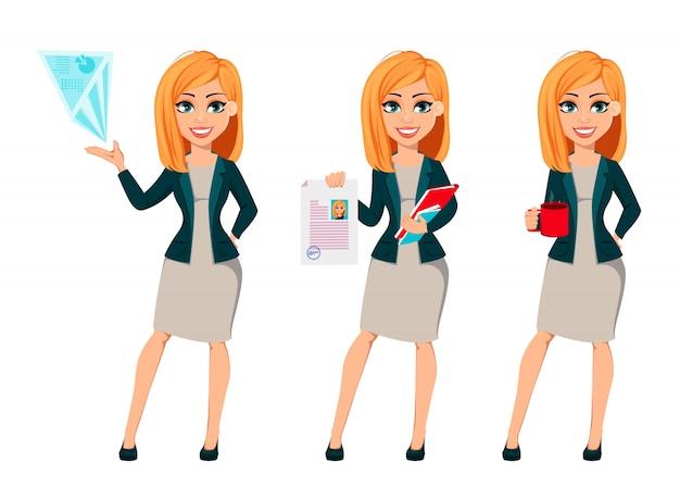 Empresária de personagem de desenho animado com cabelo loiro