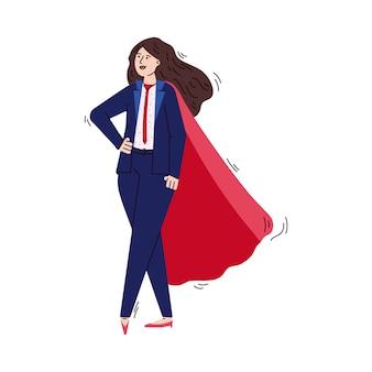 Empresária de super-herói com capa de herói vermelho em pé em pose de poder