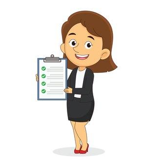 Empresária de terno mostra um plano de negócios