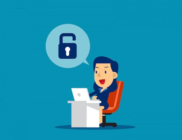 Empresária desbloquear. ilustração em vetor tecnologia negócios conceito, realização, bem sucedida