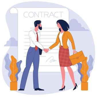Empresária e empresário apertando as mãos. ilustração do conceito de negócios.