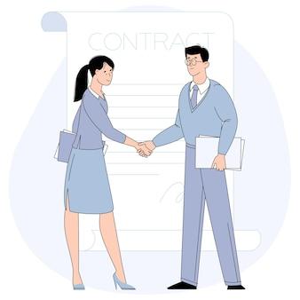 Empresária e empresário apertando as mãos