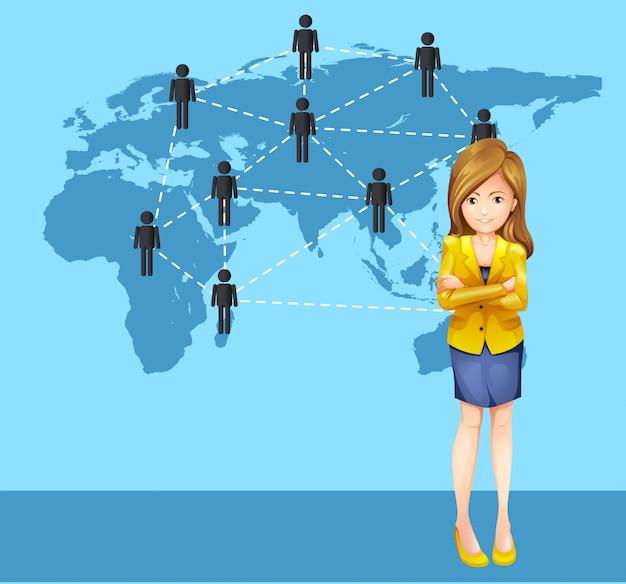 Empresária e pessoas ao redor do mundo