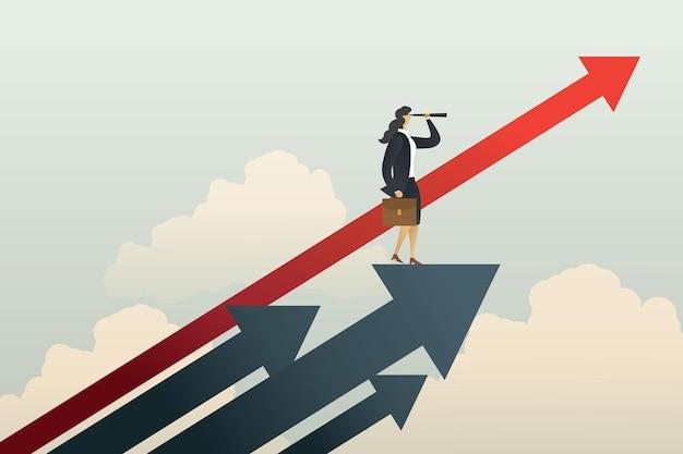 Empresária em pé em busca do objetivo de oportunidades na seta. ilustração vetorial