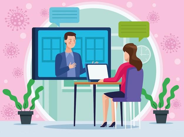 Empresária em reunião on-line de reunião