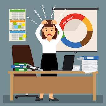 Empresária em stress com as mãos na cabeça dela