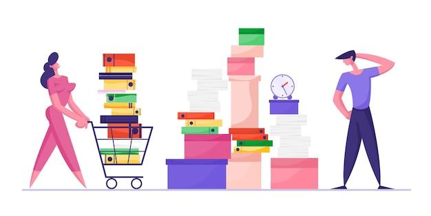 Empresária empurrando carrinho de compras cheio de documentação empresário