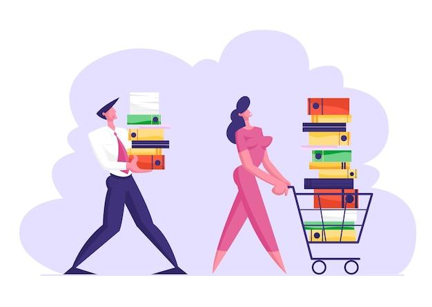 Empresária empurrando carrinho de compras cheio de documentação