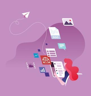 Empresária, enviando e-mail e mídia social
