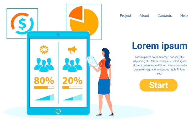 Empresária, lady analisando dados da pesquisa social