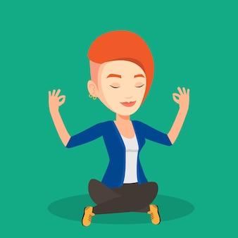 Empresária, meditando na posição de lótus.