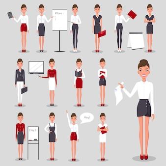 Empresária moderna em roupa de escritório com objetos de negócios diferentes