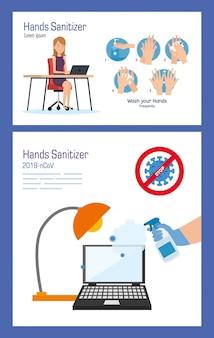 Empresária na mesa com desinfetante para mãos e laptop