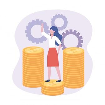 Empresária nas moedas com informações digitais de engrenagens