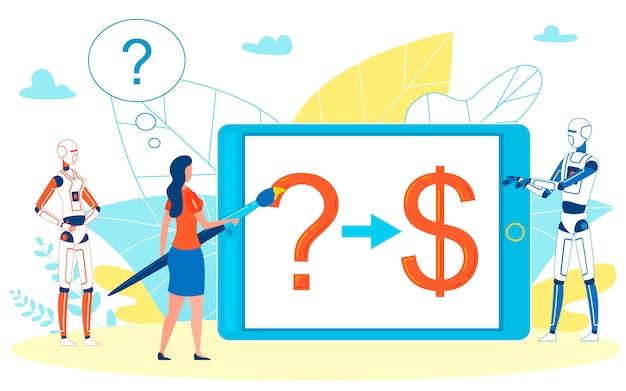 Empresária obtendo ajuda de consultores automatizados