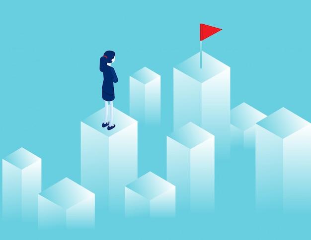 Empresária, olhando para a distância, onde há uma bandeira vermelha. objetivo de caminho