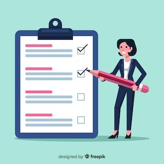 Empresária plana verificando fundo de lista de verificação gigante