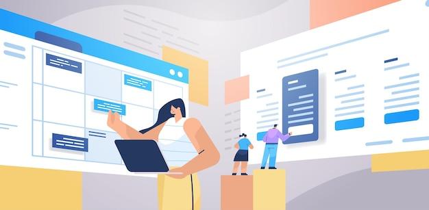 Empresária planejando o dia agendando uma consulta no calendário on-line aplicativo agenda plano de reunião conceito de gerenciamento de tempo retrato horizontal ilustração vetorial