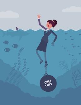 Empresária se afogando acorrentado com um peso sin
