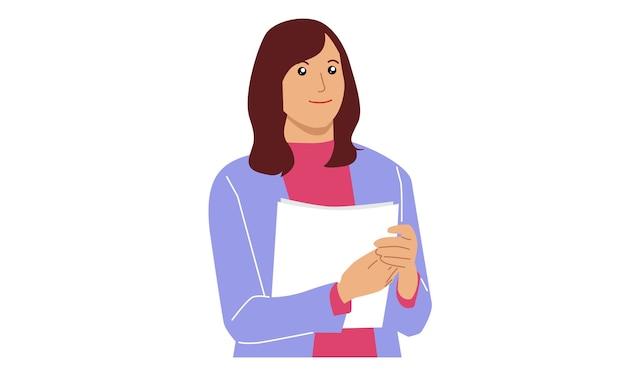 Empresária segurando um arquivo de papel