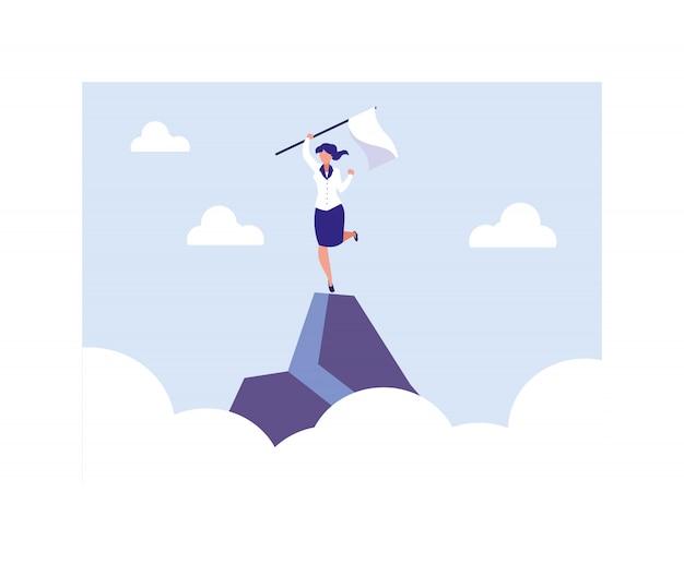 Empresária, segurando uma bandeira na montanha