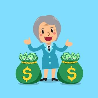 Empresária sênior dos desenhos animados de vetor com sacos de dinheiro