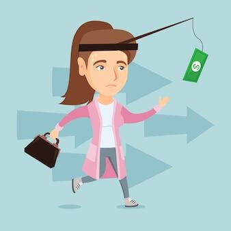 Empresária, tentando pegar dinheiro na vara de pescar