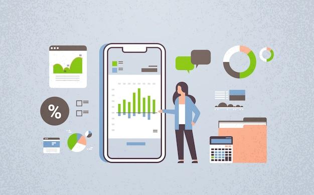 Empresária, trabalhando, finanças, móvel, aplicação
