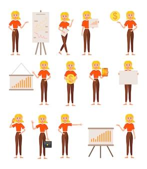 Empresária, trabalhando o conjunto de caracteres.