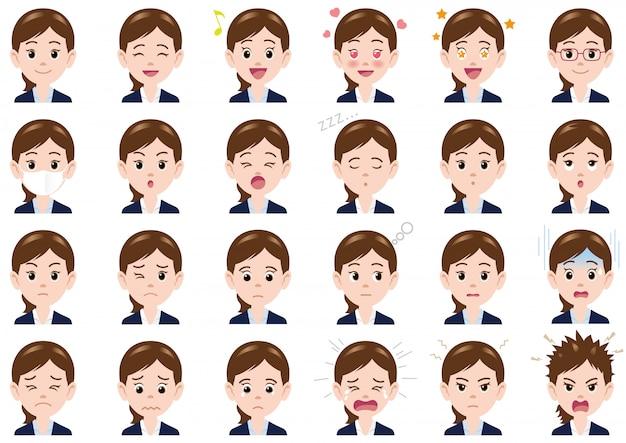 Empresária várias expressões definidas. personagens de vetor isolados