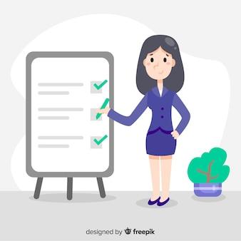 Empresária verificando fundo de lista de verificação gigante