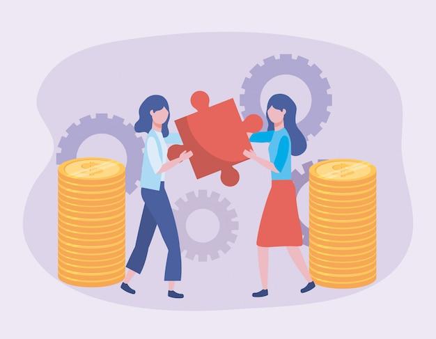 Empresárias com quebra-cabeça e moedas com tecnologia de engrenagens