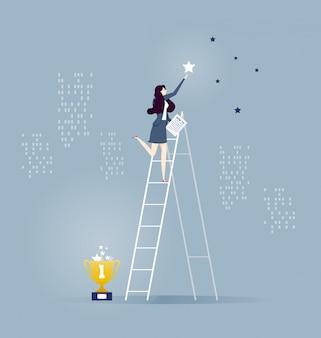 Empresárias de pé na escada