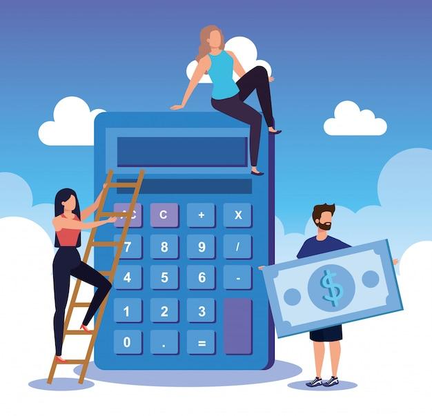 Empresárias e empresário com calculadora e fatura de dinheiro