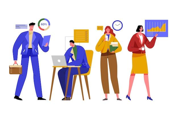 Empresárias e empresários trabalhando