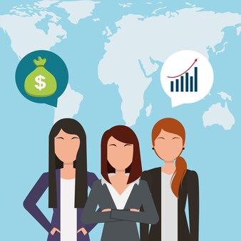 Empresárias falando dinheiro do banco e mapa de fundo global