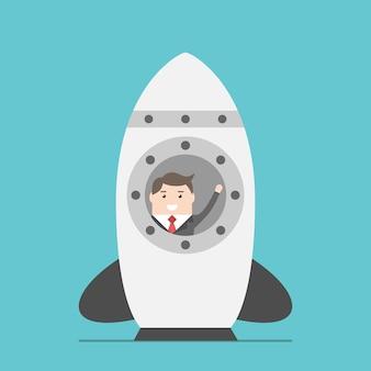 Empresário acenando com a mão no foguete espacial no solo antes de iniciar. conceito de negócio, início, lançamento, tecnologia e desenvolvimento. ilustração em vetor eps 8, sem transparência