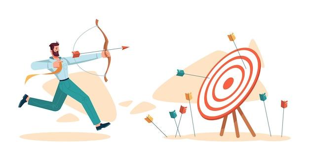 Empresário acertando o alvo da missão empresarial