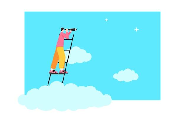 Empresário acima das nuvens na escada e olha através de um telescópio. conceito de pesquisa de ideia. novas oportunidades, ascensão profissional, sucesso, promoção. ilustração vetorial