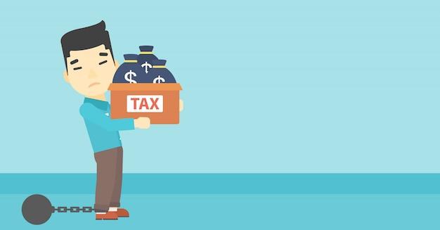 Empresário acorrentado com sacos cheios de impostos